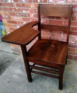 Vintage Child S School Chair Desk Dark Oak Book Shelf Under Seat