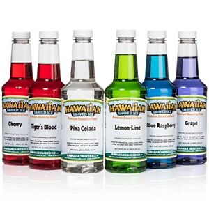 Hawaiian Shaved Ice 6 Flavor Pint Pack Includes 6 Snow Cone Syrups 16oz Eac