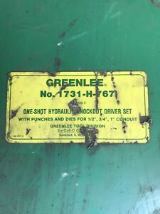 Greenlee 1731 h 767 C Frame One shot Hydraulic Knockout Driver Set W pump Dies