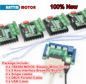 5 Axis Nema23 Stepper Motor Breakout Board 4pc Md430 Tb6560 Driver Board Cnc Kit