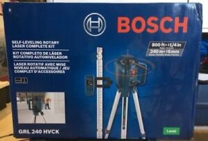 New Bosch Self leveling Rotary Laser level Kit 800 Ft 5 Piece Tool Grl 240 Hvck