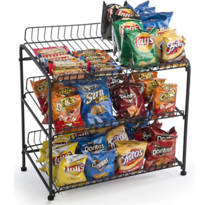 3 Tier Wire Shelf Countertop Display Rack Literature Candy Snacks Chips Food