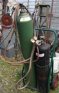 Oxygen Acetylene Outfit Cutting Torch Set Large Tanks Both Are Full