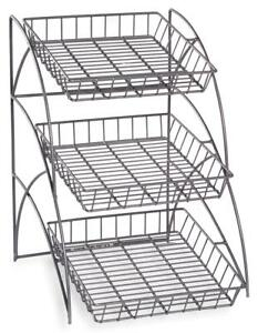 Silver 3 tier Wire Tray Countertop Display Rack Literature Candy Snacks Chips