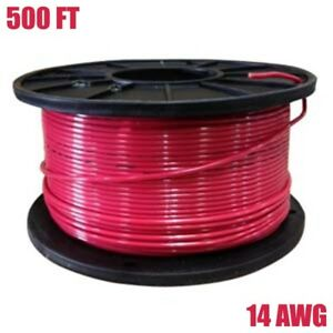 500ft 14 Gauge Thhn Solid Copper Wire Cable Building Electrical 14awg Reel Red