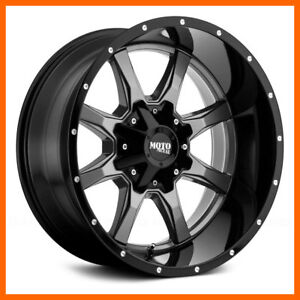 17x8 Moto Metal Mo970 5 6 8 Lug 4 New Grey Blk Wheels Rims Free Caps Lugs Stems