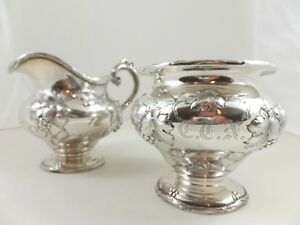 Shreve Co Sterling Silver Sugar Bowl Creamer Applied Grapevines
