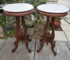 Pair Of Antique Victorian Mahogany White Marble Top Plant Stand Side Table