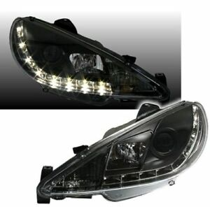 Black Finish Headlights With Daytime Led Drl Lights For Peugeot 206 206cc Sw