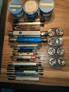 Lot Of 22 Thread Gages 15 Plug Gauges And 7 Rings sizes On Gauges