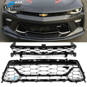 Fits 16 18 Camaro 50th Anniversary Front Upper Lower Mesh Grille 2pcs Set