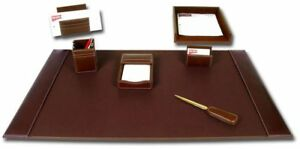 D3204 rustic brown leather 7 piece desk set