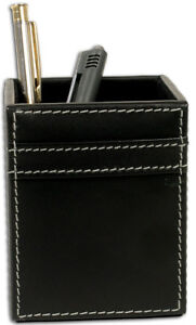 A1210 rustic black leather pencil cup