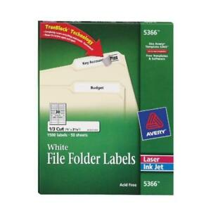Avery White File Folder Labels For Laser And Inkjet Printers 2 3 X 3 7 16