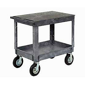 Plastic Flat Top Shelf Service Utility Cart 8 Pneumatic Caster Lot Of 1