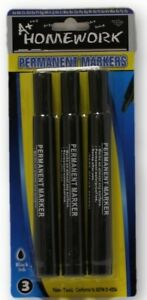 Black Permanent Markers Large 3 Pack Case Pack 48