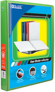 Bazic 1 2 Lime Green 3 ring View Binder W 2 pockets Case Pack 12