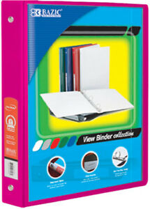 Bazic 1 Fuschia 3 ring View Binder With 2 pockets Case Pack 12