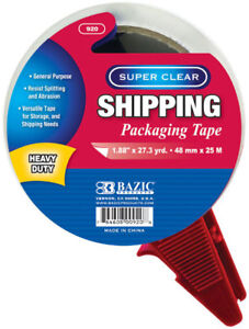 Bazic 1 88 X 27 3 Yards Super Clear Heavy Duty Packing Tape With Dispenser C