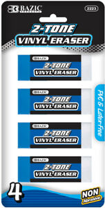 Bazic Two tone Vinyl Eraser 4 pack Case Pack 24
