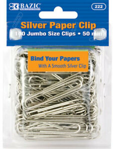 Bazic Jumbo 50mm Silver Paper Clip 100 pack Case Pack 24