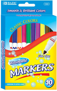 Bazic 10 Color Fine Line Washable Markers Case Pack 144