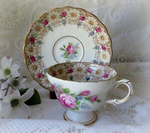 Elegant Footed Cup Saucer Set 4866 By Rosina Queens Floral Garland Pink Blue