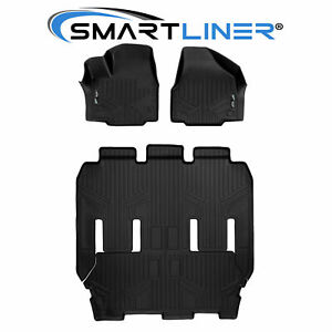 Maxliner All Weather Floor Mats 3 Rows Black Set Chrysler Pacifica 2017 2019