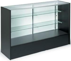 58 Black Retail Store Counter Display Showcase W Adjustable Glass Shelves