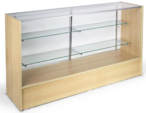 70 Maple Retail Store Counter Display Showcase W Adjustable Glass Shelves