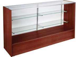 58 Cherry Retail Store Counter Display Showcase W Adjustable Glass Shelves
