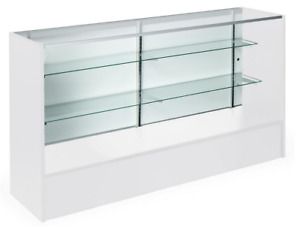 70 White Retail Store Counter Display Showcase W Adjustable Glass Shelves