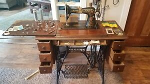 Antique Singer Redeye Sewing Machine With Table And Accessories
