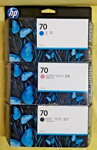 Hp Designjet 70 Set Of 3 Inks Z2100 C9448 C9452a C9455a Wide Format Printers