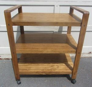 Rare Cool Vintage Mid Century Modern Bar Tea Cart Wood 1960s Danish Modern