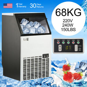 Commercial Automatic Ice Cube Maker Machine 220v 240w 68kg 150lbs Portable Udd