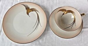 Signed Hand Painted H Co Selb Bavaria Gold Bird Tea Cup Saucer Desert Plate