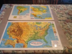 51 George Cram Table Top 2 Sided Laminated Physical Political Maps 24x 18 Nice