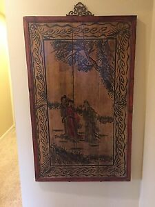 Hand Painted Chinese Outdoor Scene Women In Traditional Dress Wooden Panel C1930