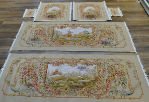 Antique Silk Wool Renaissance French Aubusson Sofa Chair Cover Handmade Vintage
