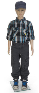 Unisex Youth Full Body Child Mannequin W Tempered Glass Base