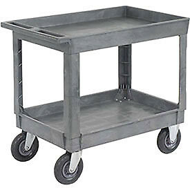 Plastic 2 Shelf Tray Service Utility Cart 8 Pneumatic Caster Lot Of 1