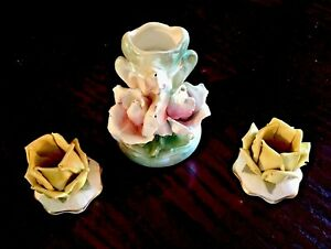 Dresden Austrian Antique Set Of Porcelain Miniatures 2 Candleholders Vase
