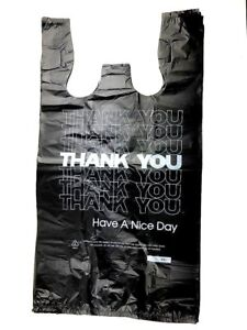 500 Ct 1 6 T shirt Plastic Shopping Grocery Store Bags W Handles Large Black