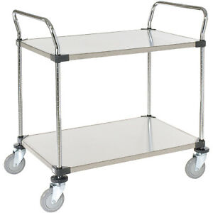 Stainless Steel Utility Cart 2 Shelves 48x24x38 Lot Of 1