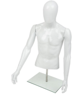 Adjustable Height Abstract Tabletop Male Half Body Torso Mannequin Display