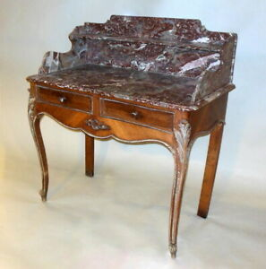 Superb Antique French Commode Vanity Desk Pastry Table Red Marble 19th C