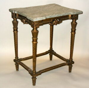 Antique 19th C French Napoleon Iii Table Marble Gilt Hopilliart Paris Proust