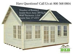 Bzb Log Cabin Kit Lakeview 17 X 12 6 Inside 209 sqf 1 3 4 Wall Thickness