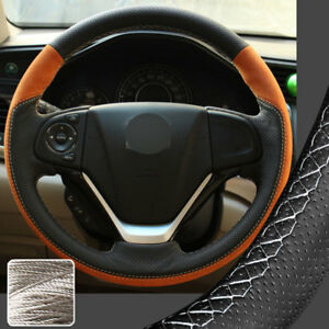 Orange Steering Wheel Cover Suede Sewing Wrap For Honda Crv Cr v 2012 16 14 15